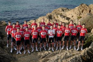 posing for a team photo shoot, during the team training winter session of the Lotto - Soudal cycling team 2016 in Palma de Mallorca, Spain. *** PALMA DE MALLORCA, SPAIN - 13/12/2015 Photo by Nico Vereecken / Photonews ***